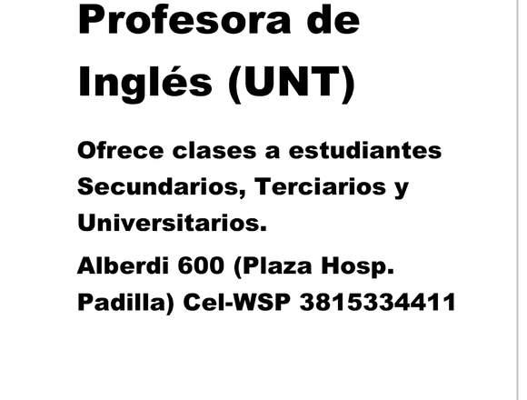 Profesora Ingles Universitaria ofrece clases