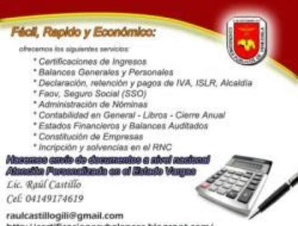 Certificaciones y Balances, Contabilidad y otros