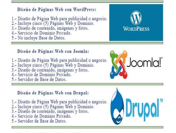 Diseño de Páginas Web de productos y servicios.