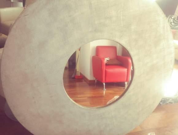 Espejo circular de madera
