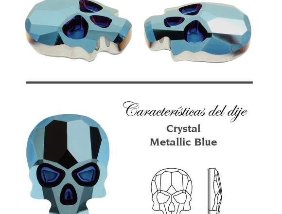 Dije Cadena Calavera De Cristal + Esmalte