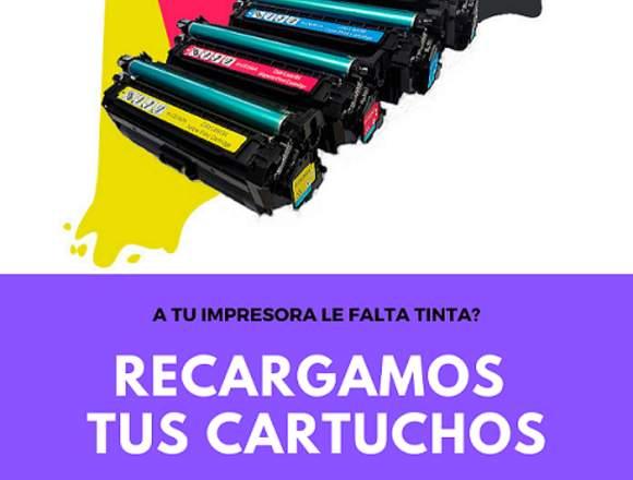 RECARGA DE CONSUMIBLES DE TINTA Y TONER