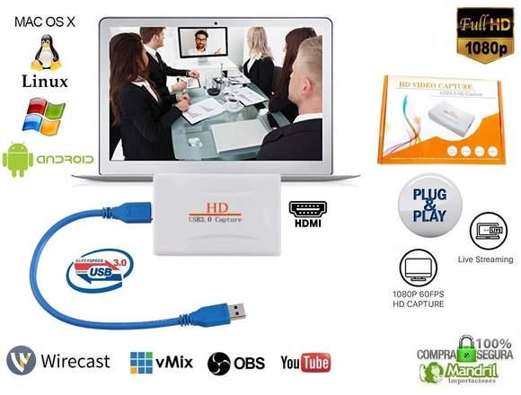 Capturadora Video Hdmi Usb 3.0 Full HD 1080p 60fps