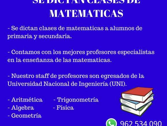 SE DICTAN CLASES DE MATEMATICAS (962 534 090)