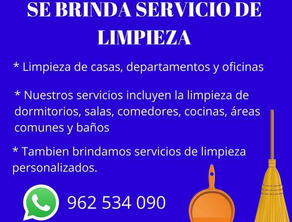 SE BRINDA SERVICIO DE LIMPIEZA A CASAS, Y OFICINAS