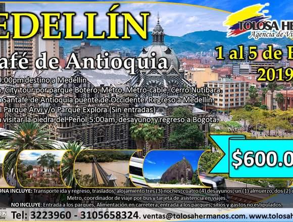 Medellin del 1 al 5 de enero del 2019