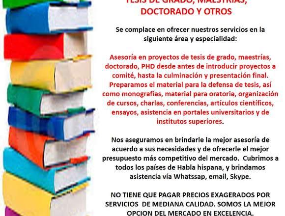 ASESORIA INTEGRAL EN PROYECTOS DE GRADO Y POSGRADO