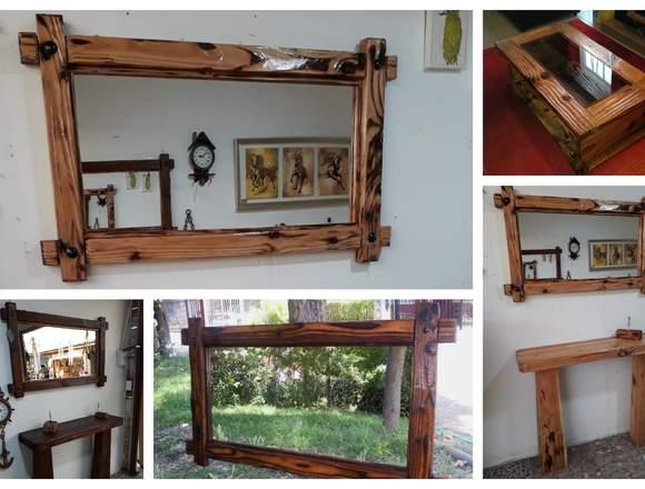 Muebles rústicos en madera.