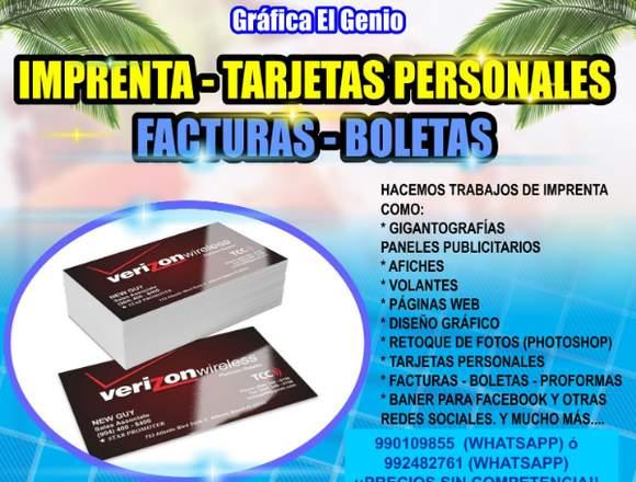 IMPRENTA - TARJETAS P. - FACTURAS - BOLETAS