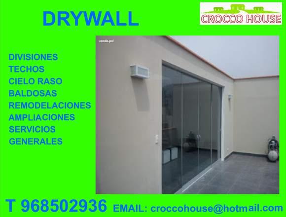 DRYWALL DEPARTAMENTOS CASAS CUARTOS 968502936