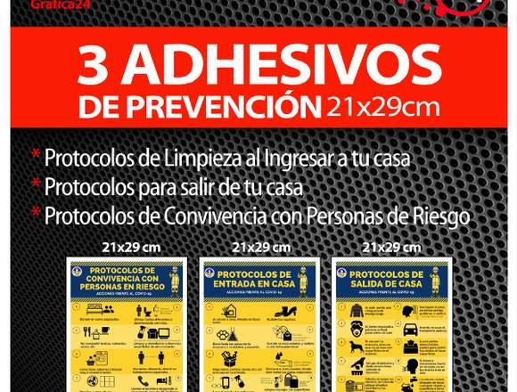 Set de 3 Adhesivos Limpieza Coronavirus