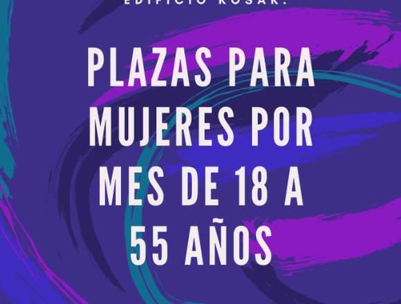 PLAZAS PARA MUJERES DE 18 A 55 AÑOS POR MES