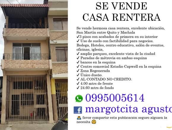 CASA RENTERA DE OPORTUNIDAD CENTRO DE GUAYAQUIL