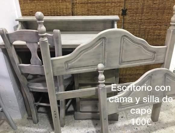 ESCRITORIO CON SILLA Y CAMA DE CAPE