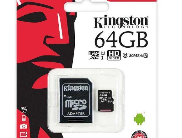 Microsd Kingston 64 Gb bajo pedido