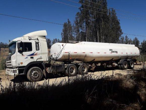 Tracto camión JAC con rampla estanque