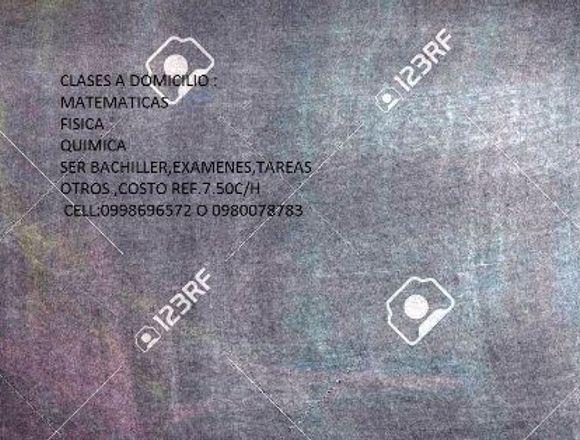 CLASES A DOMICILIO MATEMATICAS,FISICA,QUIMICA