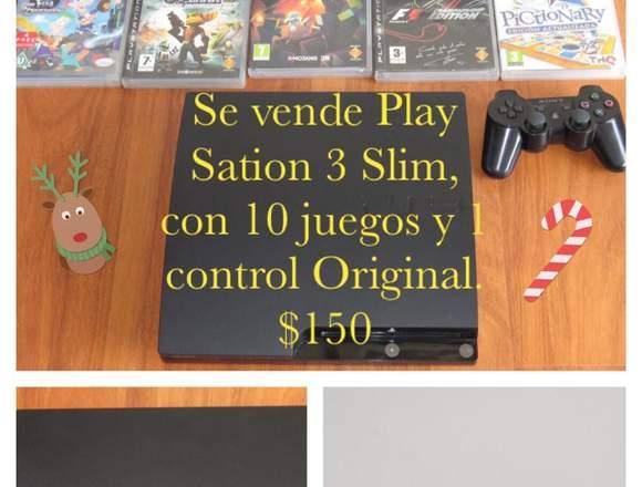 Play Station 3 Slim, con 10 juegos y 1 control