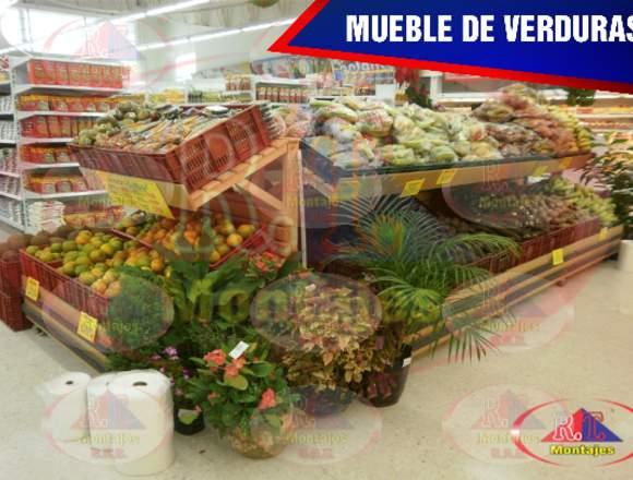 MUEBLE PARA VERDURAS CON APLIQUES EN MADERA