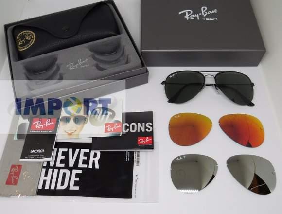 gafas ray ban aviador flipout 3460 3 kits de lente