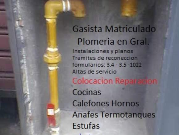 GASISTA MATRICULADO PLOMERIA EN GRAL.