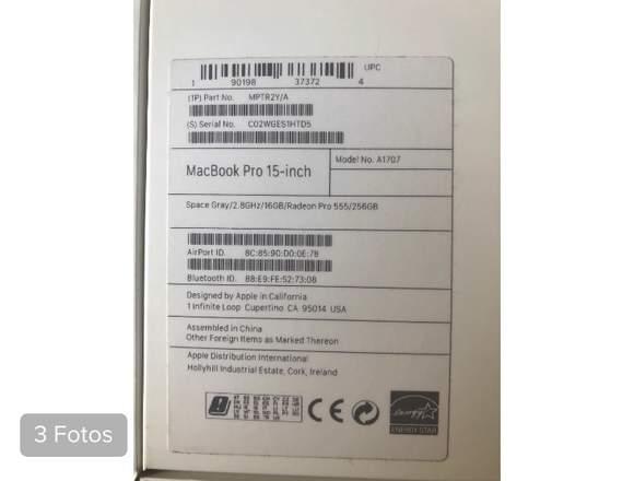 "MacBook Pro retina 15"" Año 2018"
