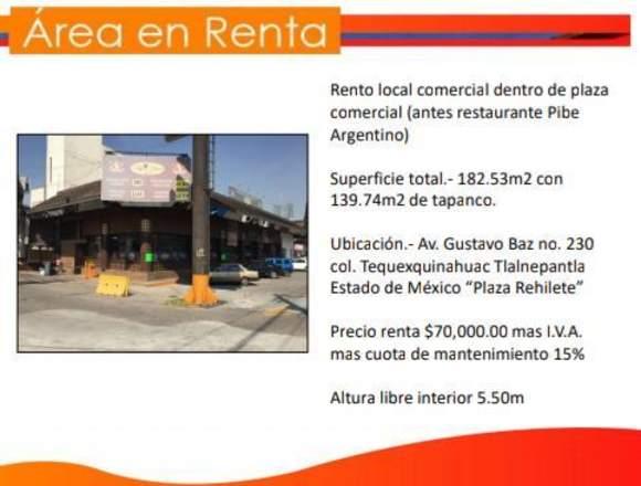 local en reconocida plaza comercial en edo. Mex