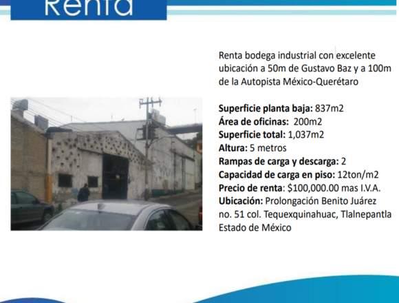 Rento bodega industrial en el estado de México