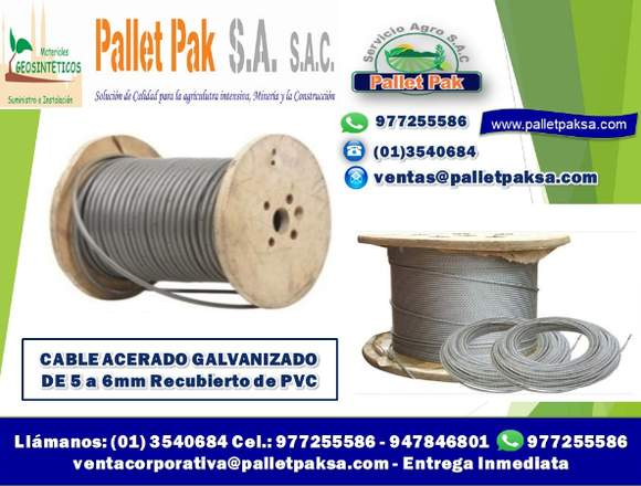 CABLE ACERADO GALV. RECUBIERTO DE PVC