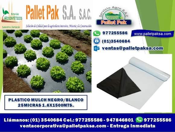 PLÁSTICO MULCH NEGRO/BLANCO 30 MICRAS 1.2X150MTS