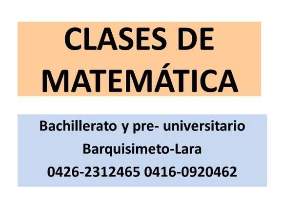 Clases de Matemática de Bachillerato