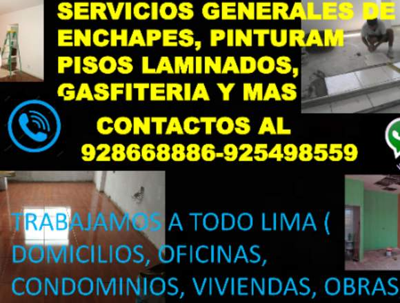 SERVICIOS GENERALES: PINTOR,ENCHAPADOR,GASFITERO