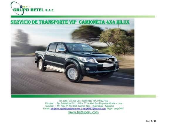 ALQUILER DE CAMIONETA, AUTOS EN AYACUCHO