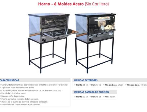 HORNO PIZZERO DE 6 MOLDES  0341-156242408