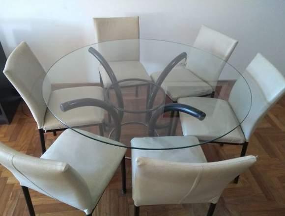 Mesa de vidrio redonda + 6 sillas