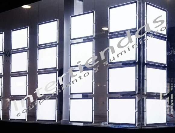 Expositor Portacartel led escaparate inmobiliaria
