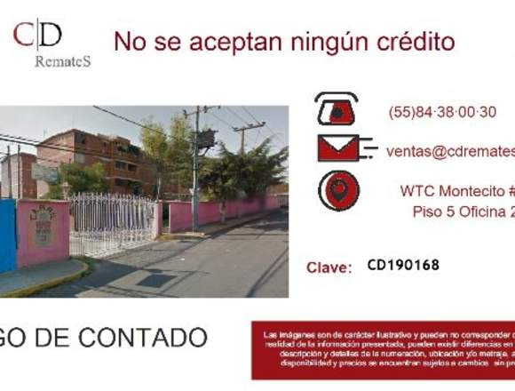 REMATE: Depto Sn Nicolás Tolentino, Iztap. CD168