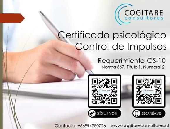 Certificado Psicológico Control de impulsos