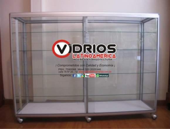 vitrina en aluminio con vidrio templado o crudo