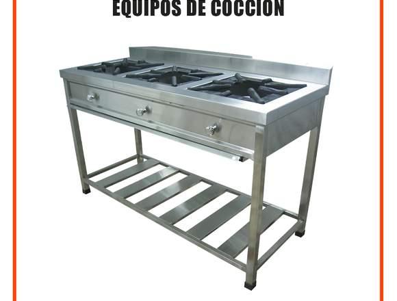 Cocina Industrial de 3 hornillas