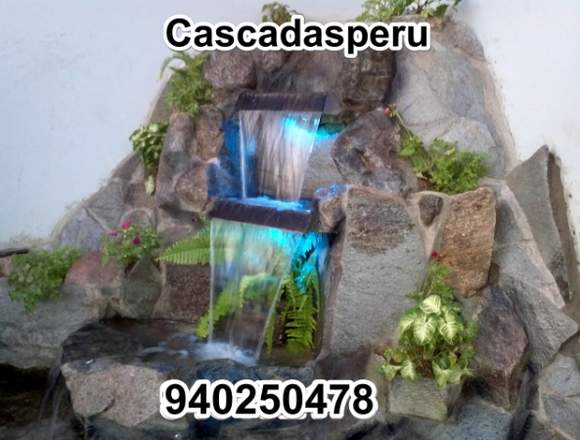 Cascadas artificiales para jardin con luces led