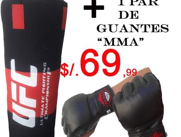 Saco de boxeo mas 1 par de guantes MMA/UFC