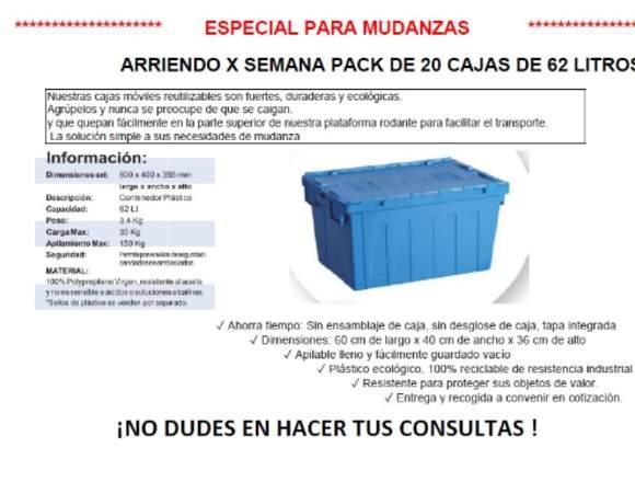 Arriendo Pack de 20 Cajas plásticas para traslado