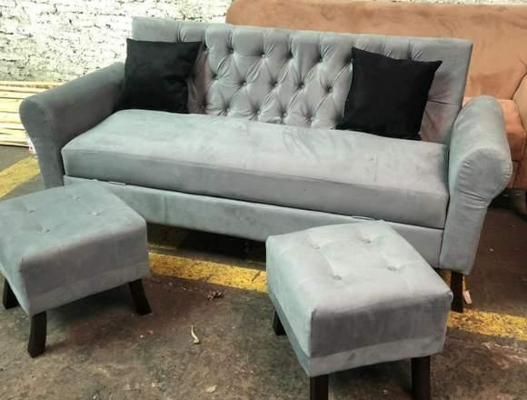 set sofa baul + 2 puff + 2 cojines