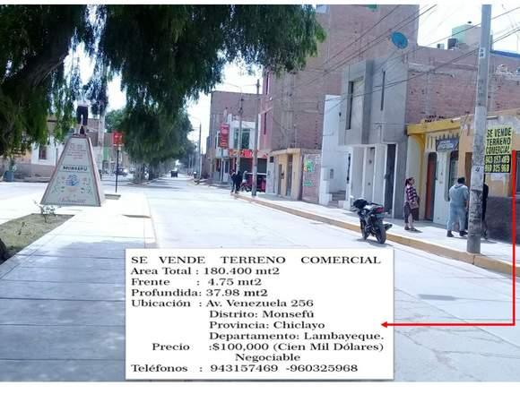 Vendo Terreno Comercial  en Monsefú- Chiclayo.