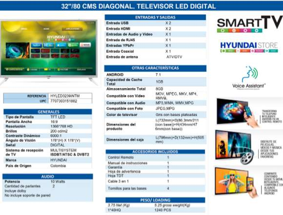 Televisor hyundai 32 pulgadas smart tv full hd