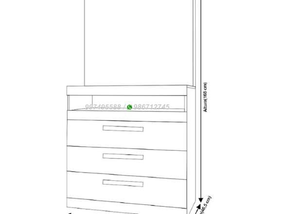 Cómoda Bruna con panel, 3 cajones Blanco