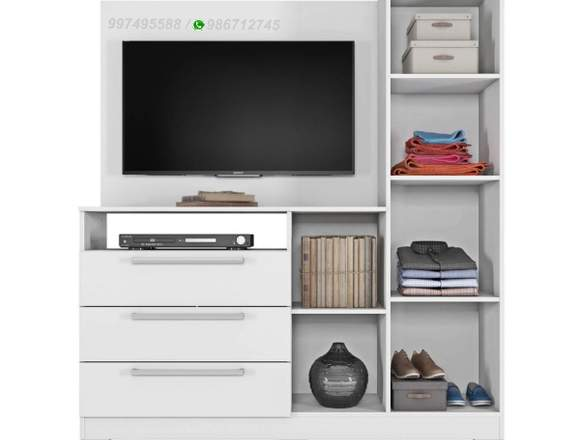 "Cómoda Lady Monalisa con panel TV de 42"" – Blanco"