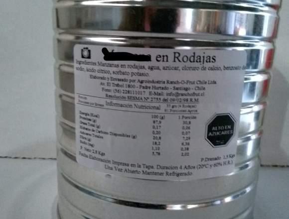 Peras en conserva, en latas de 3,2 kgs