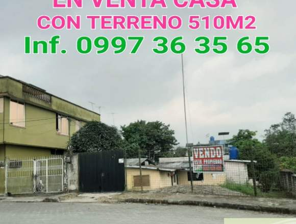 VENDO TERRENO AMPLIO 510M2 CON 2 CASAS